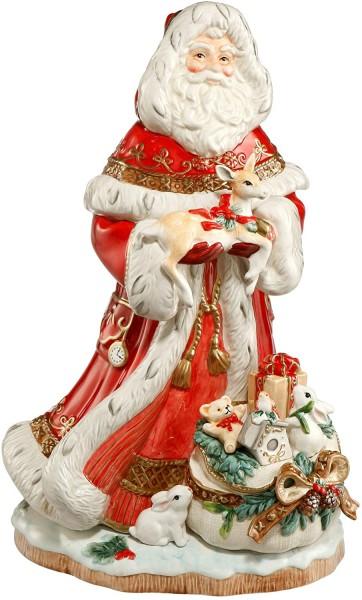 Fitz & Floyd Santa mit Geschenkesack vorne Rot 51001261 Einzigartiges Sammlerstück handarbeit