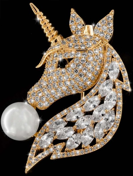 Brosche Einhorn mit Perle goldfarben und vielen weissen Strass Steinen BR037