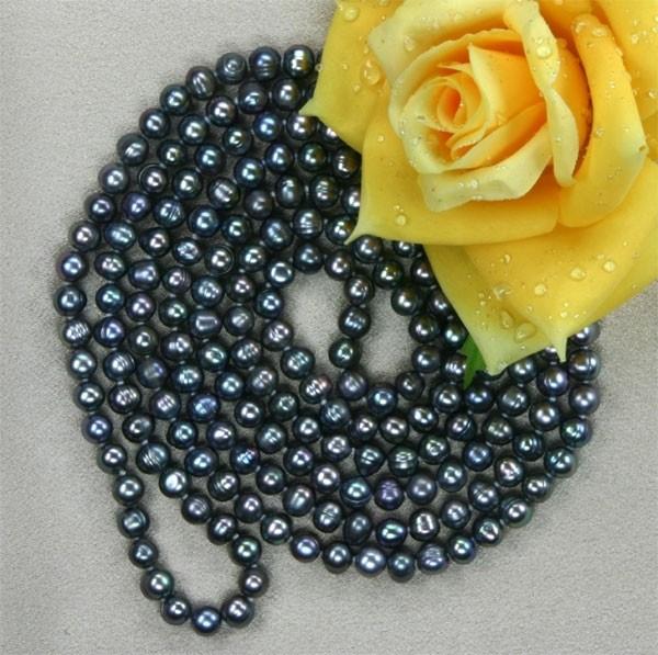 7-8mm Echte Zucht-Perlenkette Violett Tahiti Black UVP 299€ ca. 160cm