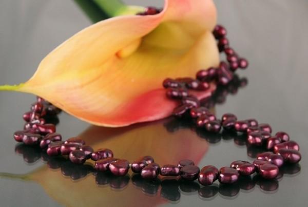 Echte Zucht-Perlenkette P032 Weinrot Burgundy Irregular Barock ca.45cm