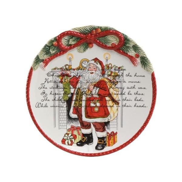 Fitz und Floyd Weihnachtsteller 51000031 Sammlerstück Steingut Handarbeit Goebel