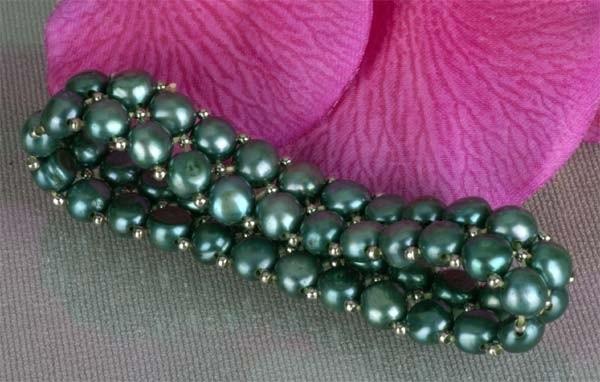 2-reihiges Süsswasser Zucht-Perlen Armband Grün mit silberfarb. Kugeln A203