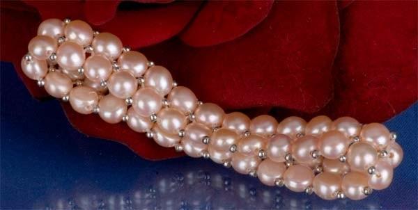 2-reihiges Süsswasser Zucht-Perlen Armband Lachs m. silberfarb. Kugeln A204