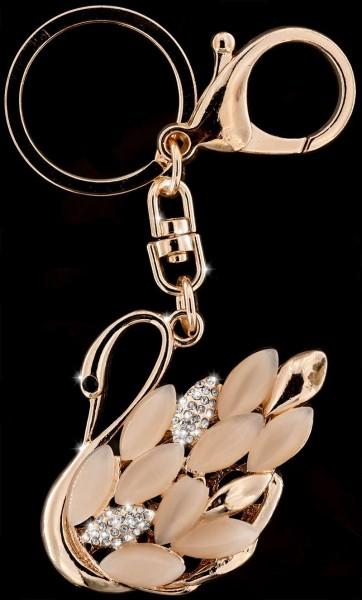 Schlüsselanhänger Schwan roségoldfarben mit vielen weissen Strass Steinen Taschenanhänger AH04