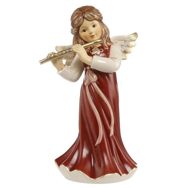 Goebel Engel mit Querflöte, stehend Himmelsmusik 41512291 Bordeaux Himmelsbote
