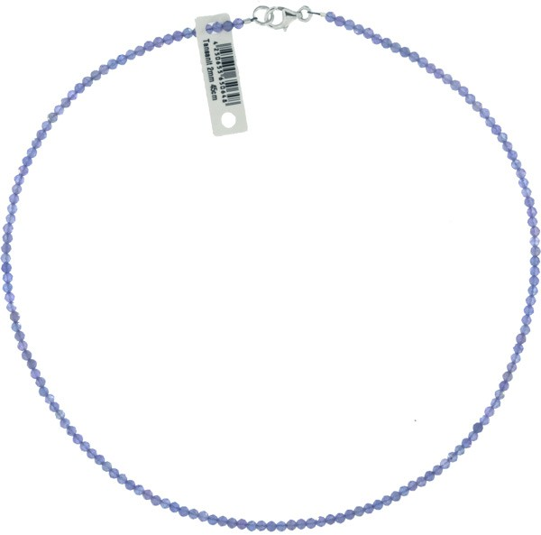 Tansanit Kette 45cm ca.1-2mm facettiert 925 Silber Verschluß Punziert