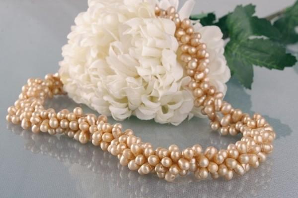 Perlenkette 3-Reihiges Perlen Collier aus Süsswasser Perlen Champagner C04