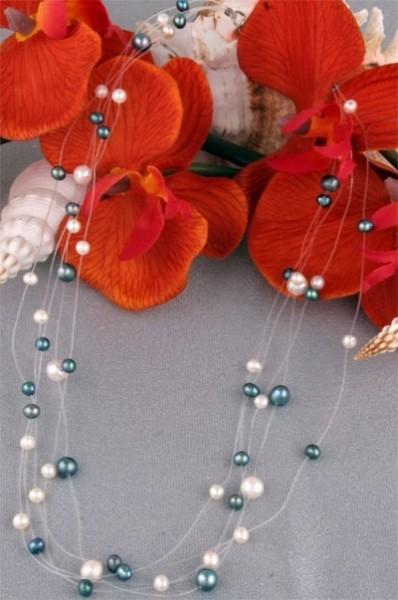 Perlenkette 5-Reihig P906 Filigran Weiss-Violett ca. 45cm Perlen auf Nylon NEU