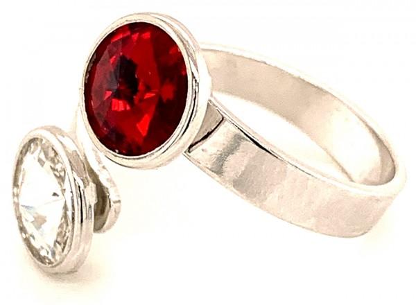 Silber Ring mit 2 Swarovski aCrystal (1*Siam/1*Crystal Clear) 925 Silberfassung größe änderbar gesam