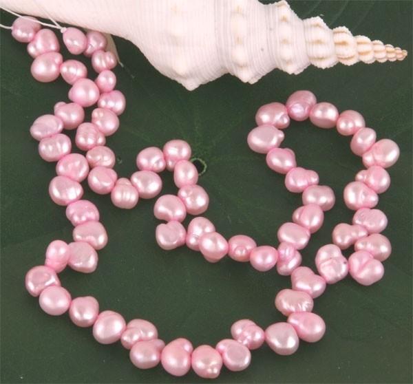 E124 Echter Süßwasser-Perlen-Strang irregular 6-7mm 40cm lang offen rosa