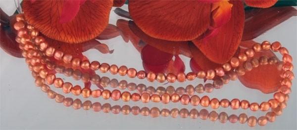 E108 Echter Süßwasser-Perlen-Strang irregular 4-5mm 38cm lang offen goldorange
