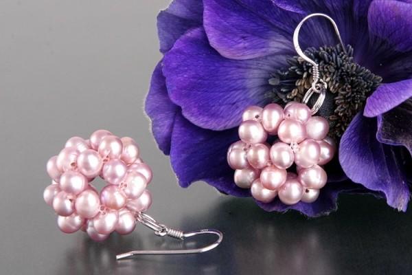 Ohrringe Beerenform Hell-Violett naturfarben Süsswasser Perlen 925 Silber O105
