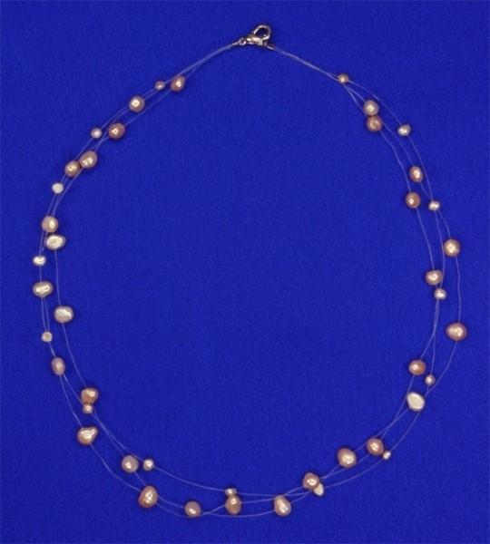 Süsswasser Perlenkette Filigran -Orange / Rose- ca. 45cm Perlen schwebend auf Nylon