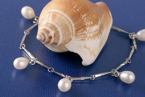 Silberarmband (925) mit Perlen P324 Weiss