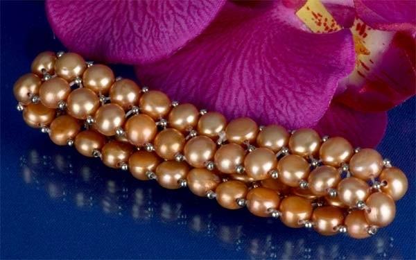 2-reihiges Süsswasser Zucht-Perlen Armband Champagner m. silberfarb. Kugeln A202