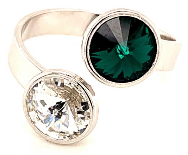 Silber Ring mit 2 Swarovski Crystal 1*Emerald (Smaragd) grün 1*Crystal Clear 925 Silberfassung größe