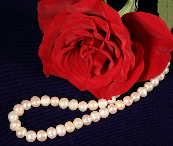 Süßwasser Zucht-Perlenkette 7-8mm Perlen Kette P277