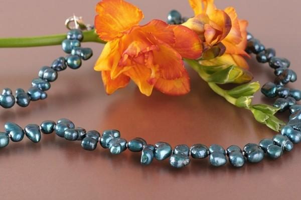 Perlenkette P388 Barocke Zuchtperlen ca. 8mm Ocean Blue