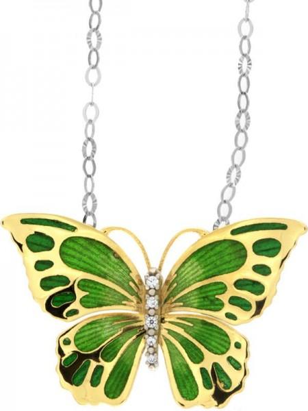 Halskette mit Schmetterling Anhänger 2.0cm Gelb in 925 Sterling Silber Vergoldet mit Zirkonia ZCL922