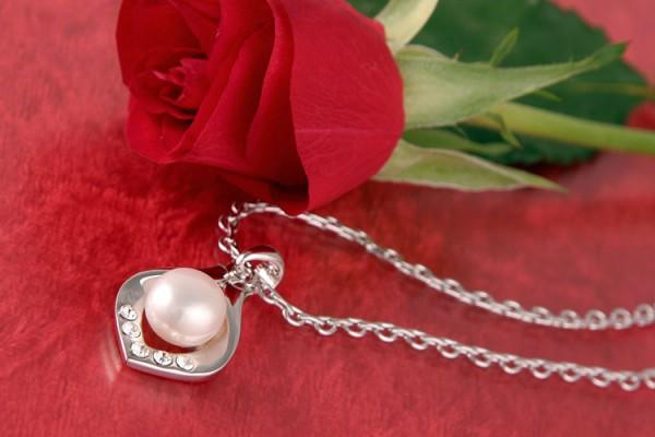 Perlenkette Süßwasserzuchtperle versilbert rhodiniert Weiß P235