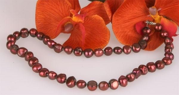 Echte Zucht-Perlenkette HQ50 9-10mm Button-Form 45cm K104