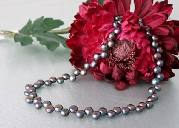 Echte Zucht-Perlenkette P035 anthrazit ca.50cm Buttonform NEU