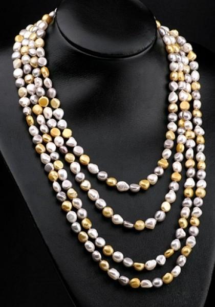 Echte Zucht-Perlenkette P268 weiß/silber/gold extralang ca.250cm irregular NEU