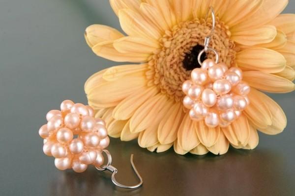 Ohrringe Beerenform Lachs naturfarben Süsswasser Perlen 925 Silber O106