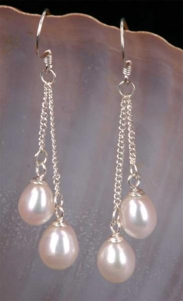 Doppelte Süßwasser Zucht-Perlen-Ohringe (925 Silber) Weiss P436