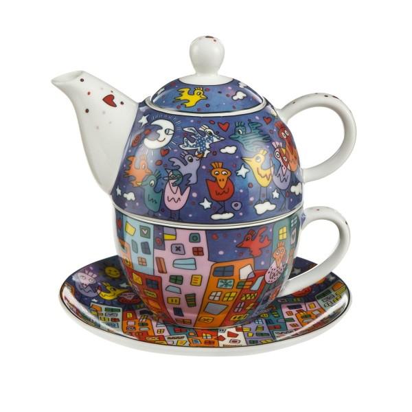 Goebel Tea for One James Rizzi City Birds 26102361 Tasse, Untertasse, Kanne