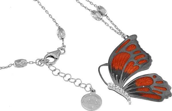 Halskette mit Schmetterling Anhänger 4.5cm orange in 925 Sterling Silber Rhodiniert mit Zirkonia ZCL