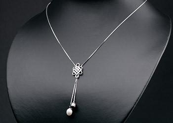 Elegante Silberkette mit Ornament +echten Süßwasserzuchtperlen Perlen oval ca. 8-9mm - Weiß / Tahiti