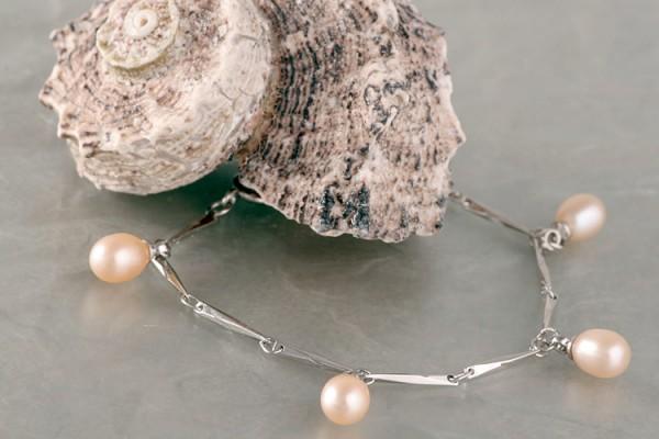 Silberarmband (925) mit Perlen P323 Lachs Orange