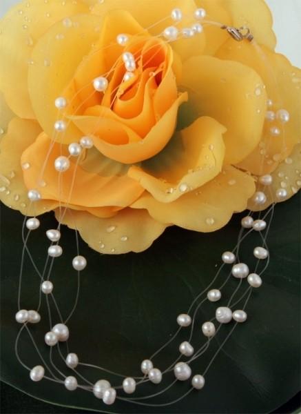 Perlenkette 5-Reihig P905 Filigran Weiss ca. 45cm Perlen schwebend auf Nylon NEU