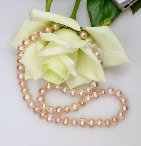 Echte Zucht-Perlenkette rose 7-8mm ROSE K115