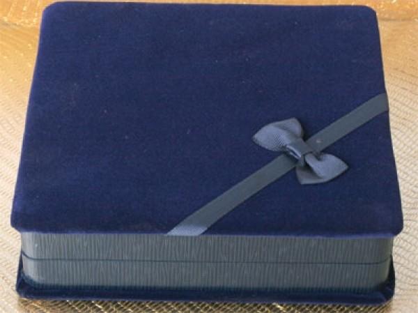 Geschenkbox Royal-Blau für Kette Collier Schmuckset Rechteckig
