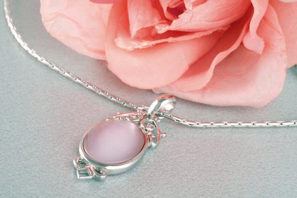 Perlenkette Anhänger Amulett MOP Perlmutt Lachsfarben Rose versilbert rhodiniert P263