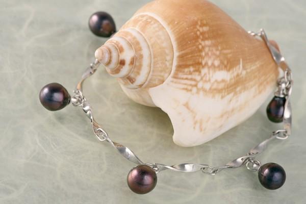Silberarmband (Spirale) mit echten Süßwasserzuchtperlen Perlen oval ca. 6-8mm - Tahiti Black --Co