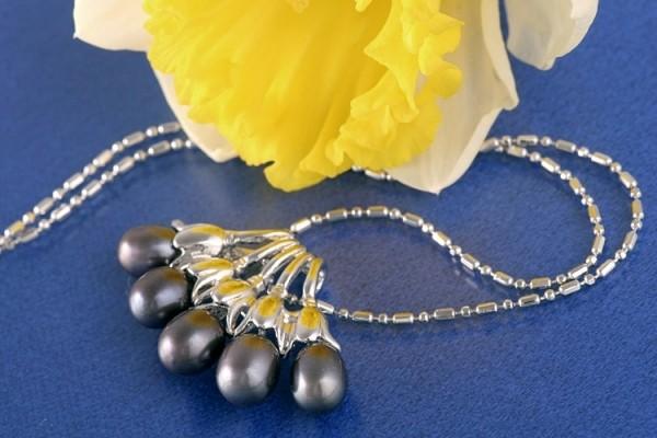 Perlencollier 5 Perlen P295 Violett-Schwarz 41cm Zucht Perlen 7mm Perlenkette