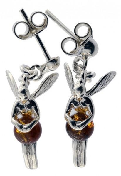 Echte Bernstein Ohrhänger Elfe Fee Schutzengel 925 Sterling 3D Silber Fassung BSORFEE01