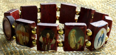 Heiligenarmband Holz Maria Devotionalien Madonna NEU