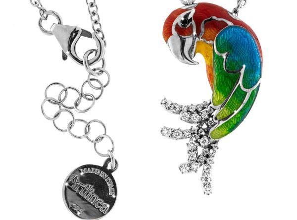 Halskette Papagei Hellroter Ara Anhänger 3.0cm in 925 Sterling Silber Rhodiniert mit Zirkonia ZCL113