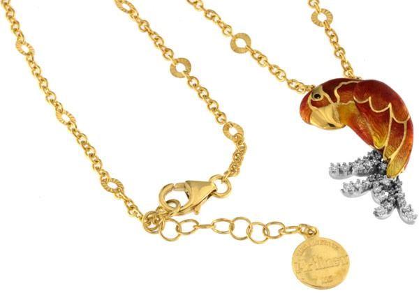 Halskette mit Papagei Roter Ara Anhänger 3.0cm in 925 Sterling Silber Vergoldet mit Zirkonia ZCL1144