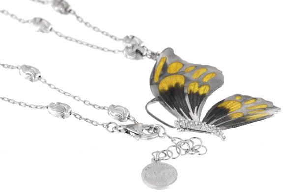 Halskette mit Schmetterling Anhänger 4.5cm gelb in 925 Sterling Silbera Rhodiniert mit Zirkonia ZCL8
