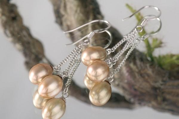 Doppelte Süßwasser Zucht-Perlen-Ohrringe (925Silber) champagner P423