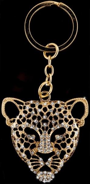 Schlüsselanhänger Leopard goldfarben mit vielen weissen Strass Steinen Taschenanhänger AH02