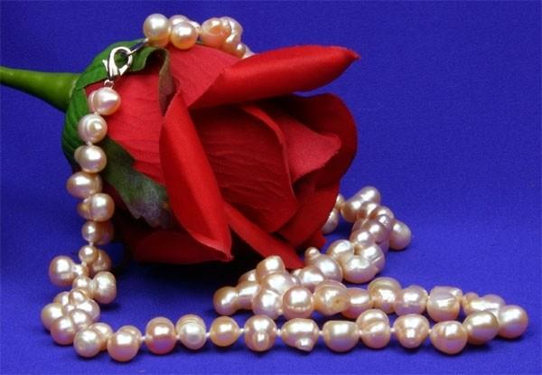 Perlenkette P505 Barocke Zuchtperlen ca. 10mm Rose