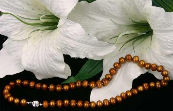 Echte Zucht-Perlenkette Kupfer/Braun 45cm 8mm mit Kugel-Schliesse ca. 8mm K112