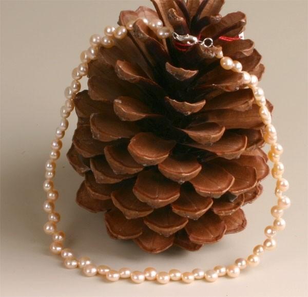 Echte Zucht-Perlenkette Kette Buttonform Orange (Rose) 45cm