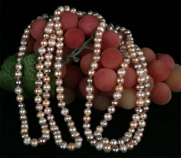 Süswasser Perlenkette 3-Farbig ca 160cm Endlos natürliche Farben nicht gefärbt